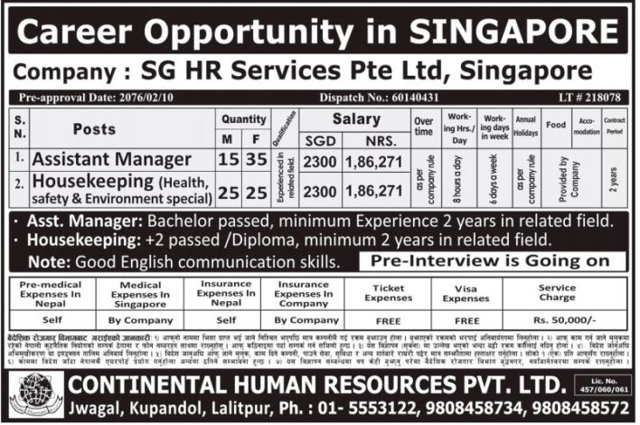 100 Candidates Required to work in Singapore