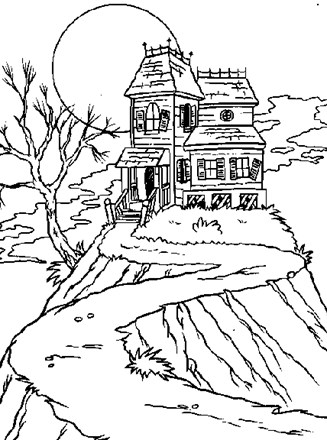 Haunted House Coloring Page : haunted, house, coloring, Halloween, Coloring, Haunted, House, Network