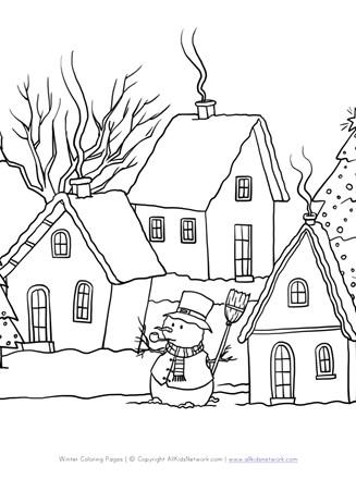 Winter Scene Coloring Page : winter, scene, coloring, Winter, Scene, Coloring, Network
