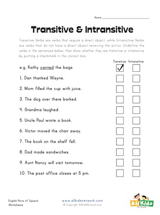 Transitive And Intransitive Verbs Worksheet : transitive, intransitive, verbs, worksheet, Transitive, Intransitive, Verbs, Worksheet, Network