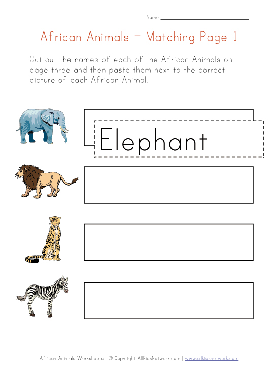 Printable Word Webs - African Safari Animal Print Lion Tiger Leopard
