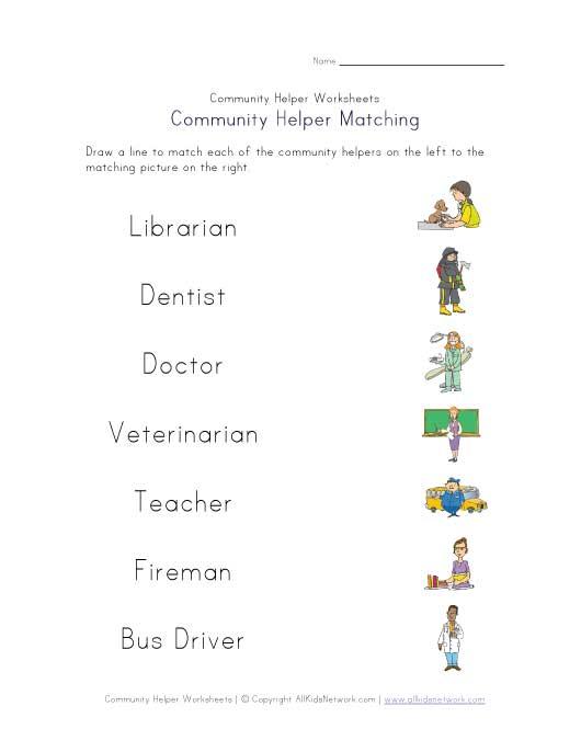 The Gallery For > Community Helpers Worksheet