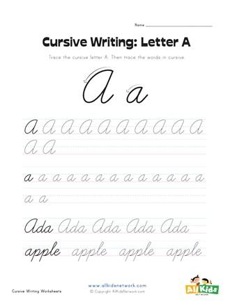 A In Cursive : cursive, Cursive, Writing, Worksheet, Letter, Network