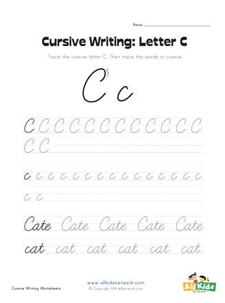 Cursive Uppercase C : cursive, uppercase, Cursive, Writing, Worksheet, Letter, Network