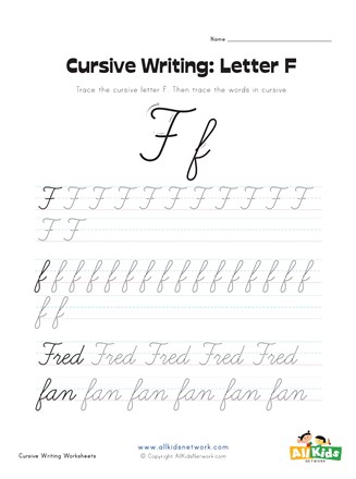 Capital F Calligraphy : capital, calligraphy, Cursive, Writing, Worksheet, Letter, Network
