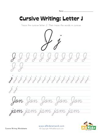 Script Capital J : script, capital, Cursive, Writing, Worksheet, Letter, Network