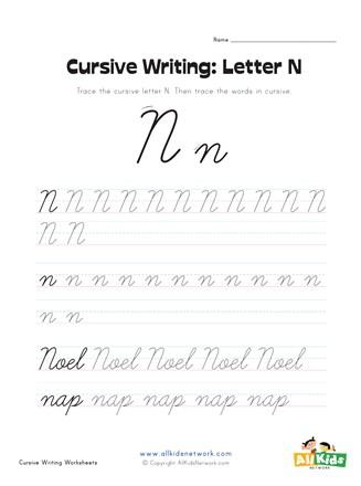 Cursive Letter N : cursive, letter, Cursive, Writing, Worksheet, Letter, Network