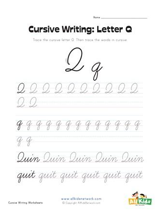 Upper Case Cursive Q : upper, cursive, Cursive, Writing, Worksheet, Letter, Network