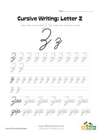 Cursive Capital Z : cursive, capital, Cursive, Writing, Worksheet, Letter, Network