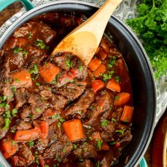 slow cooker braised steak and vegetables
