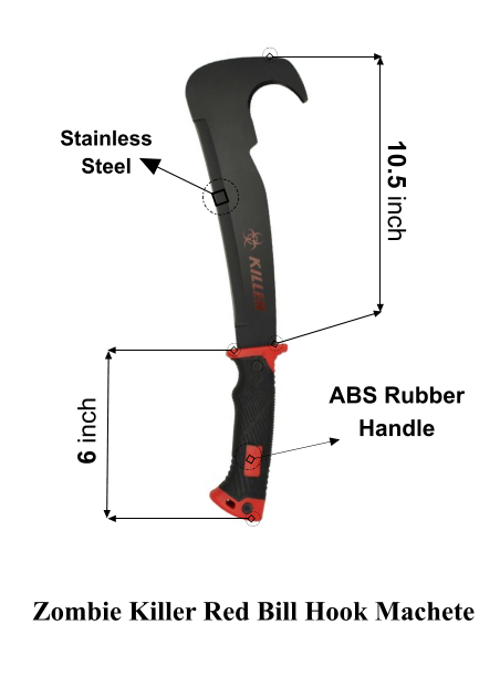 Zombie killer red billhook machete