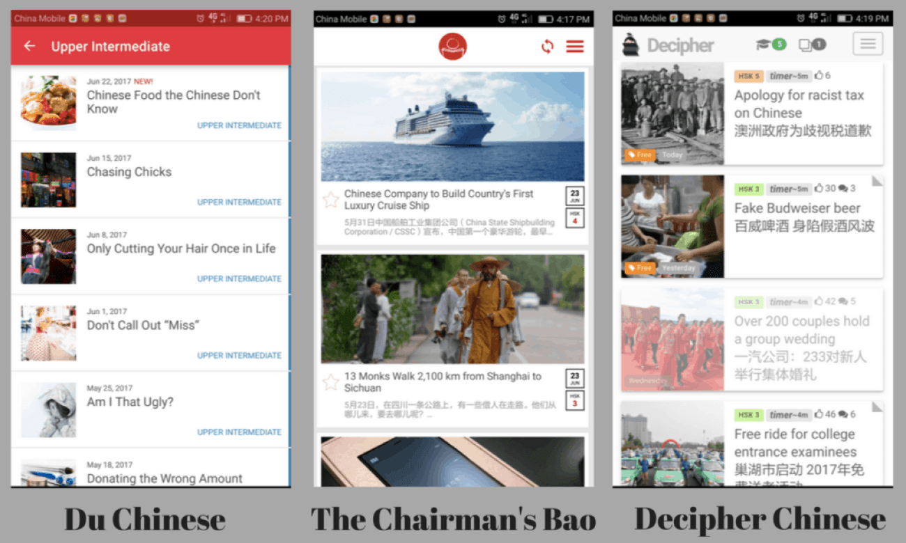 Comparing content on Du Chinese, The Chairman's Bao and Decipher Chinese