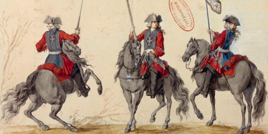 Les mousquetaires du roi avec la traditionnelle casaque bleue. Photo : Paris - Musée de l'Armée