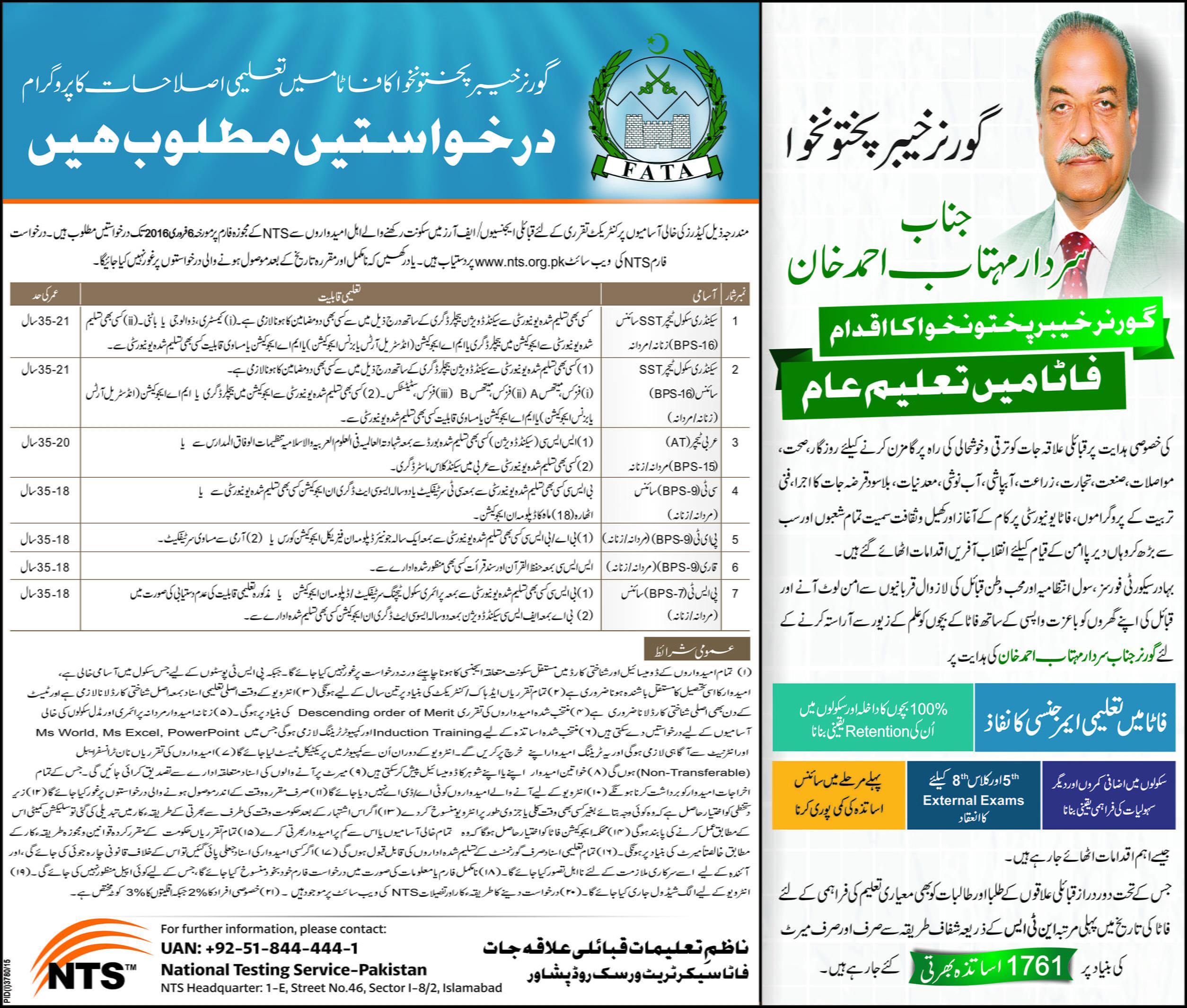 Directorate of Education FATA Secretariat Peshawar SST AT CT PET