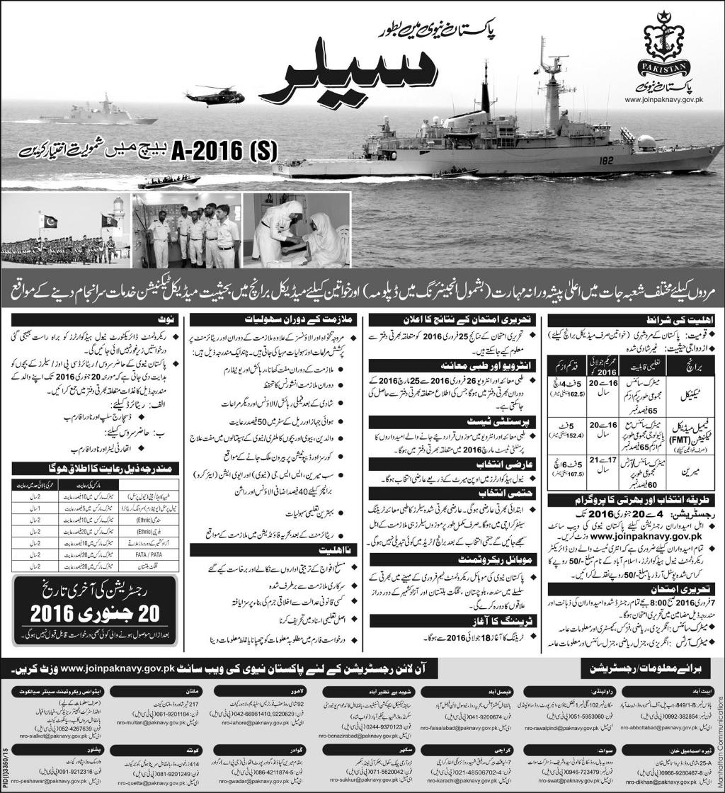 Pakistan Sailor Navy Jobs for Matric Science Students Male