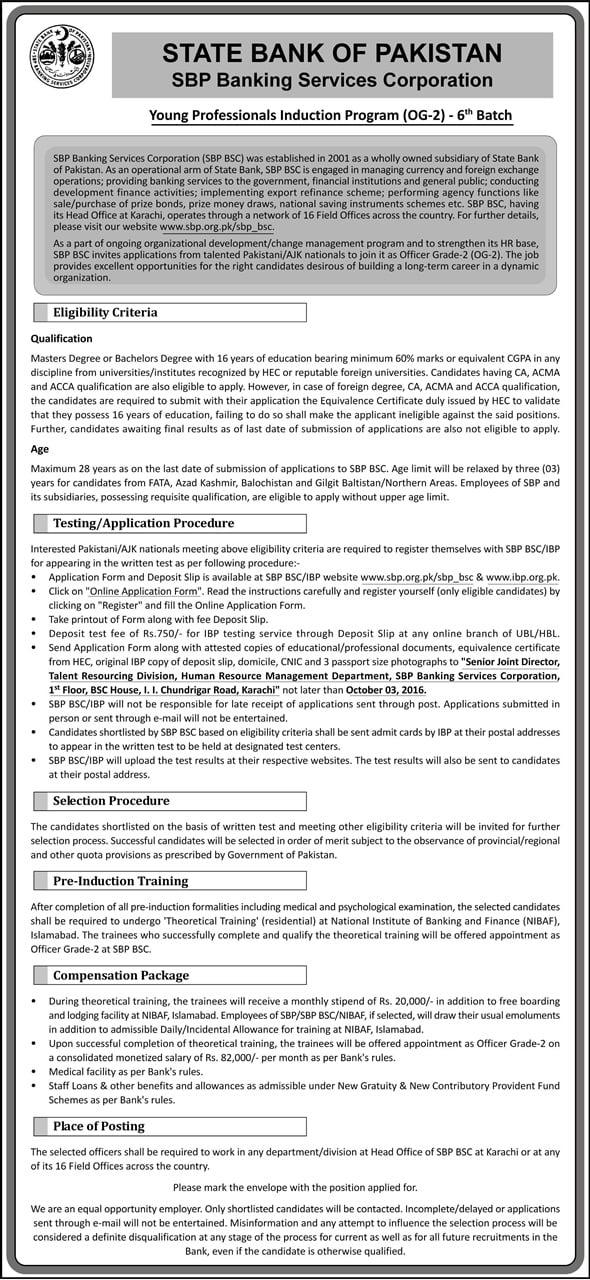 The Institute of Bankers Pakistan IBP SBP-BSC Jobs Recritment Test