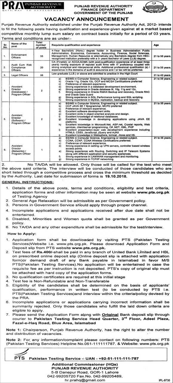Enforcement Officer Punjab Revenue Authority Finance