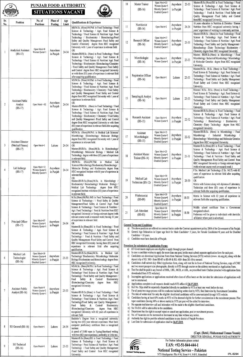 NTS Punjab Food Authority Jobs Syllabus MCQs Sample Papers 2019