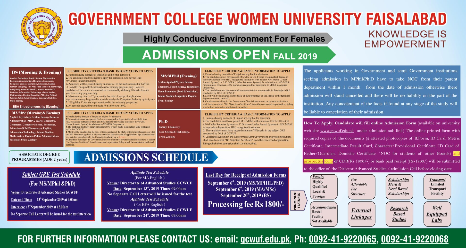 GC Women University Faisalabad Admissions Open 2019