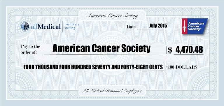 Mock check for the American Cancer Society