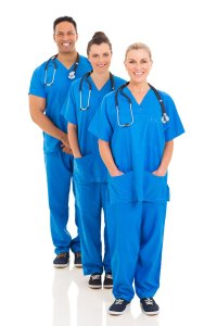 A team of three medical workers