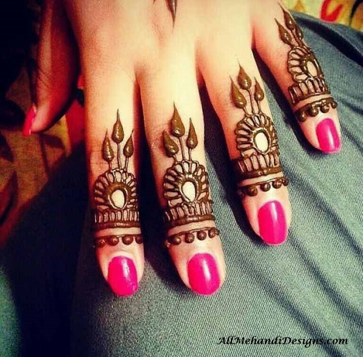 Finger Easy Mehndi Design For Front Hand