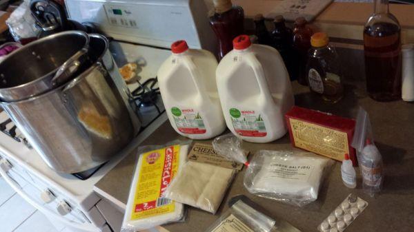 Cheesemaking suppiles.