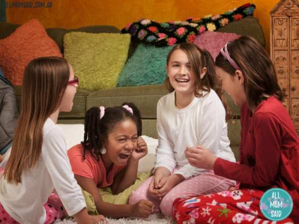 sleepover etiquette for kids _ girls playing and laughing