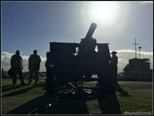ANZAC Day service Fort Scratchley guns
