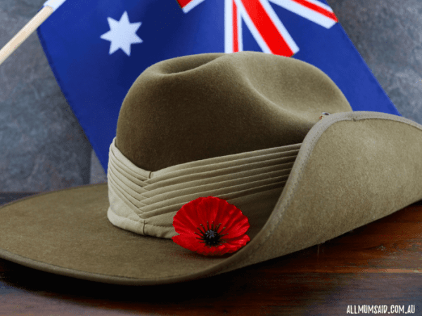 Slouchy hat with poppy flower and Australian flag   Hunter Valley ANZAC Day services
