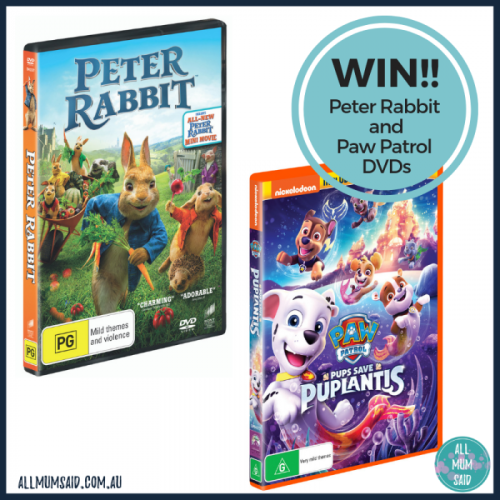 WIN peter rabbit and paw patrol DVDs