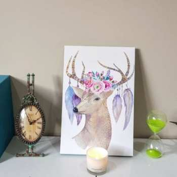 canvaschamp canvas print on white desk with ornaments and candles