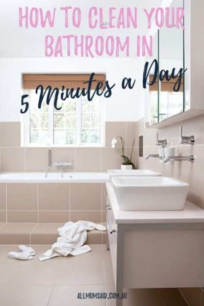 Keeping anything clean in a house with kids let alone a bathroom. But never fear, read this and discover how you can clean your bathroom in five minutes a day. #cleaning #cleaningtips #getorganised #organisation #organization #bathroom #declutter #clean