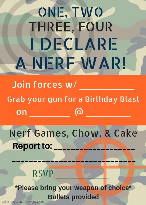 nerf war birthday party
