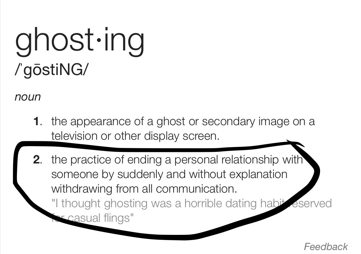 Ghosting dating definition dictionary
