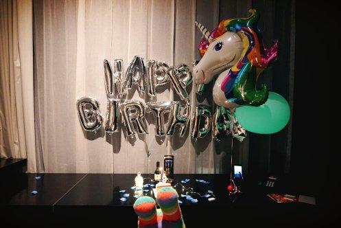 My setup of the table for Taenggu's birthday celebration