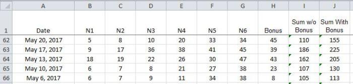 Lotto Excel