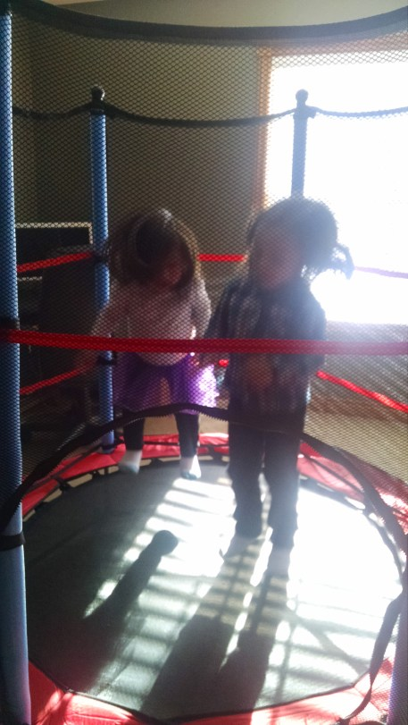 Jumping together on M's new trampoline