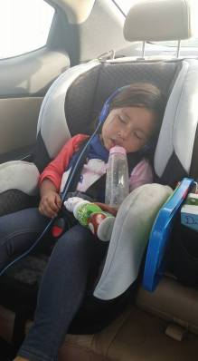 Naturally, she slept almost the whole way there (all 7 hours) and still slept all night when we got there!