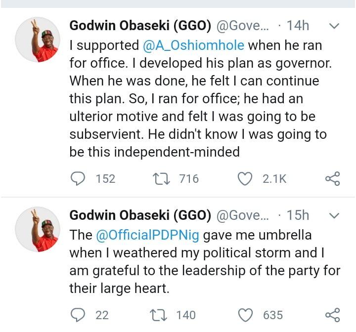 Edo Election: Why I Broke Up With Oshiomhole - Obaseki Gives Real Reasons