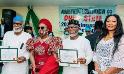 INEC presents Certificate of Return to Akeredolu, Deputy