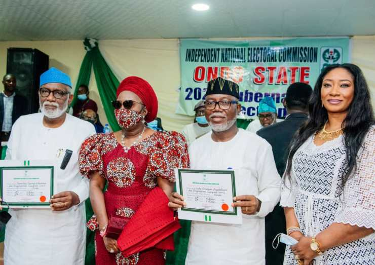 INEC presents Certificate of Return to Akeredolu, Deputy