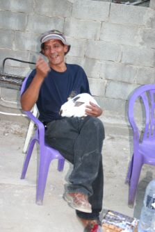 Abed with a rabbit at Abu Abdallah's