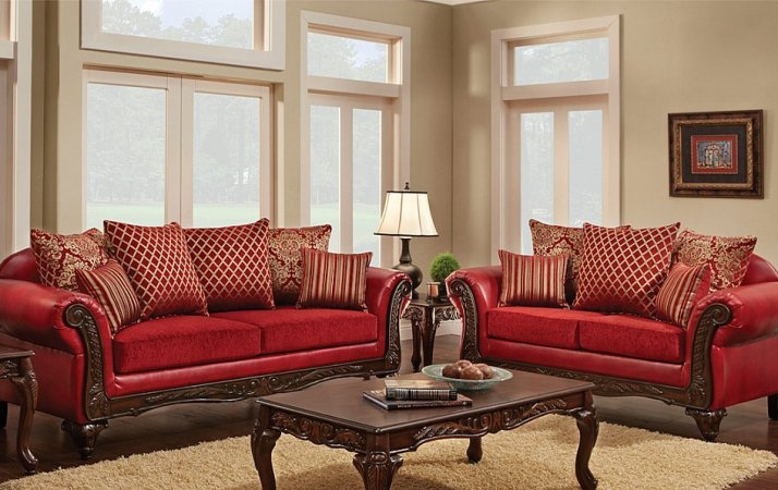 Multi Fabric Combination Traditional Style Sofa Loveseat All Nations Furniture