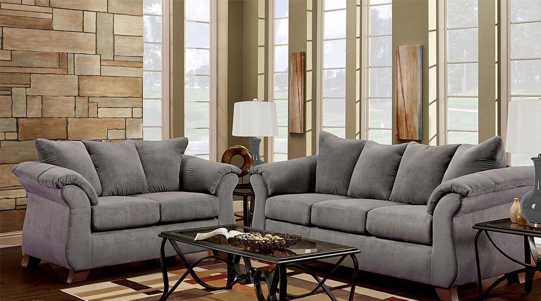 modern style in grey microfiber fabric sofa loveseat