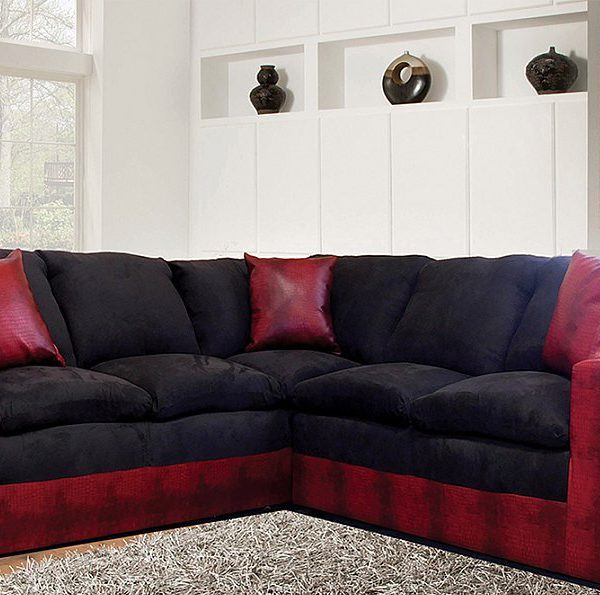 Contemporary Style in TwoTone Black and Red Microfiber