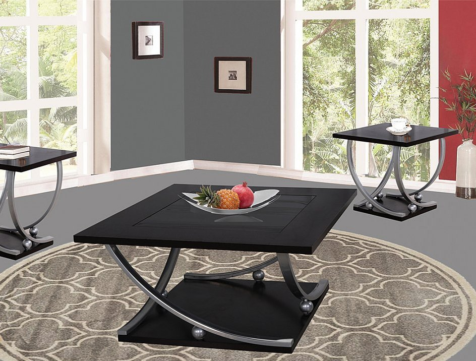 contemporary style in a black finish 3 piece occasional table set