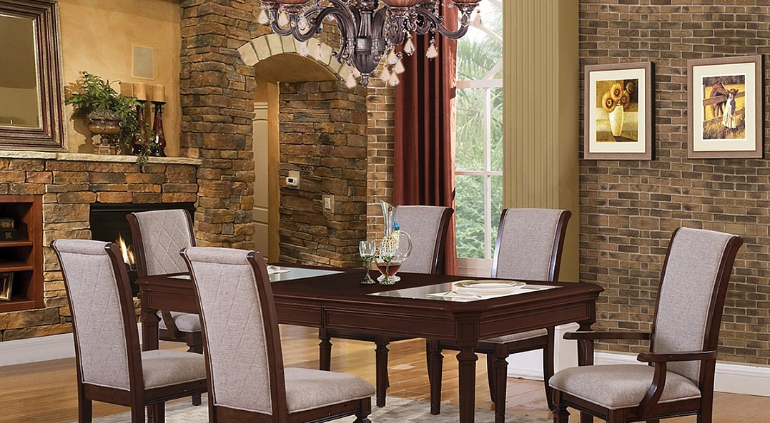 traditional style dining in an espresso finish dining table and chairs