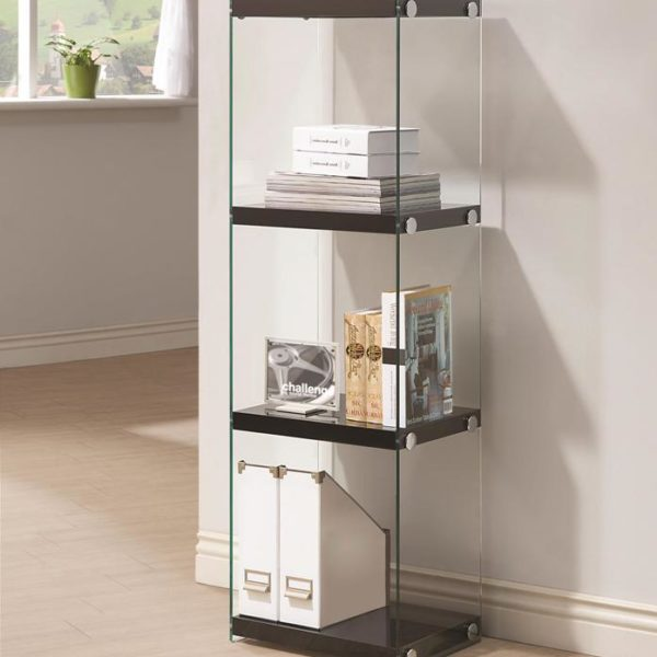 clear desk chairs leather dining modern contemporary three shelf bookcase with glass shelves and side panels – all nations furniture