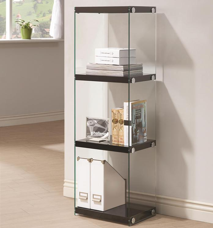 Contemporary Three Shelf Bookcase with Glass Shelves and